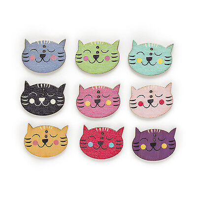 30pcs 2 Hole Mixed Cat Wood Buttons Decor Sewing Scrapbooking Clothing 29x22mm