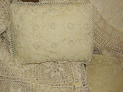 Vintage Hand Crochet Ivory Bedspread Shams Coverlet Topper Pillow Set Full Sized