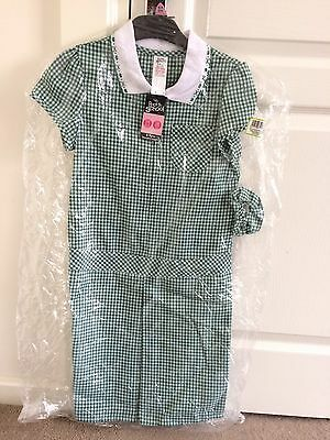 Girls Green Gingham Summer School Dress Size 8-9yrs Brand New With Tags