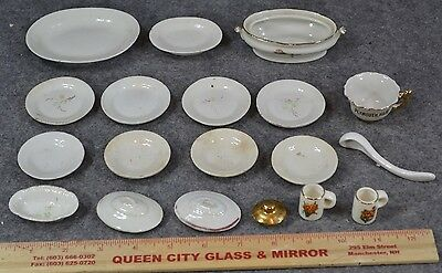 doll dollhouse dish lot 19 pc toy ironstone plate platter cups bowl antique 1800