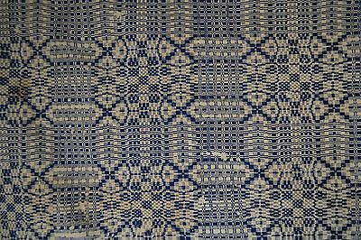 coverlet linen wool cobalt blue white 92x70 date 1820 Sinclair antique original