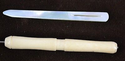 sewing hook bodkin needle MOP Mother Pearl carved cattle bison bone antique 1800