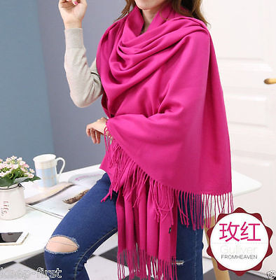 New Women's Fashion Rose Red 100% Cashmere Pashmina Soft Warm Wrap Shawl Scarf