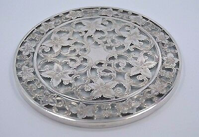 "WEBSTER CO Sterling Silver ""Lily Pattern"" large BOTTLE COASTER"