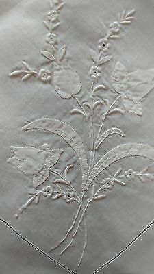 """Vintage Madeira Embroidered 42"""" Square Tablecloth Bridal Centerpiece Flowers(#32"""