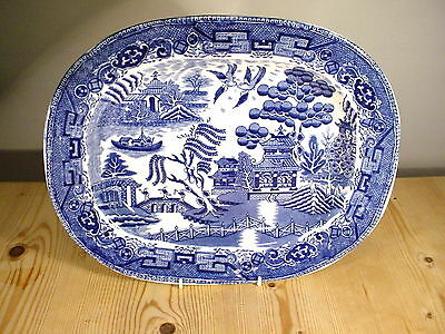 "Medium 12.5 Inch Blue & White Willow ""Made in England"" Meat Platter"