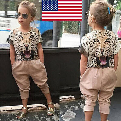 2PCS Child Kids Toddler Baby Girl T-shirt Tops+Pants Summer Outfits Clothes US