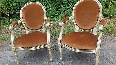 Pair Of Gold Dralon French Antique Fauteuil Chairs From Normandy