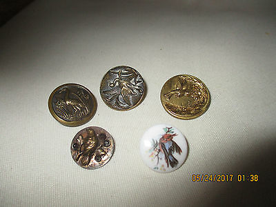 Vintage Buttons With Birds - Five - All Metal Except One