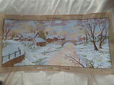 Very Large Diamant Printed Canvas  50 Cm X 110 Cm Village Winter Scene