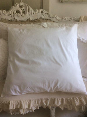 ~*Vintage French White Embroidered/Button Back Pillow/Cushion Cover*~