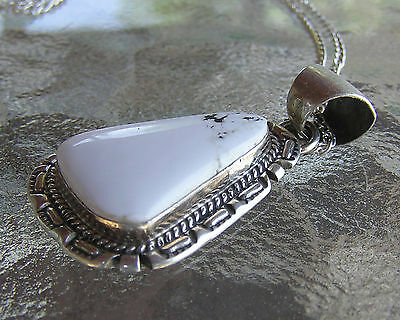 Native American, Handmade Navajo Indian Sterling Silver & White Buffalo Pendant