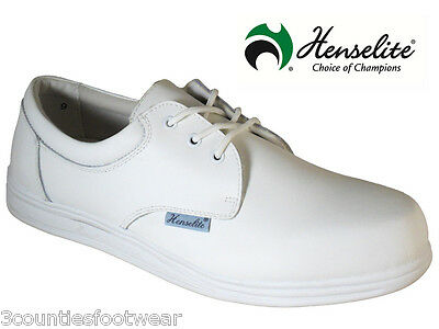 Mens Lawn Bowls Shoes - Henselite White Victory  Green Bowls Trainers All Sizes