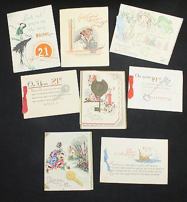 Small Vintage Collection Of 8 x Various 21st Birthday GREETINGS Cards  - Y96