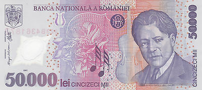 50 000 Lei Unc Banknote From Romania 2001!pick-113