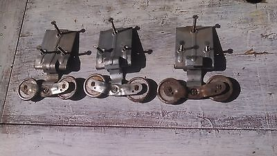 "Antique Barn Door Rollers Set 3 Top Double Wheels Farm Industrial Metal 2"" LOOK"