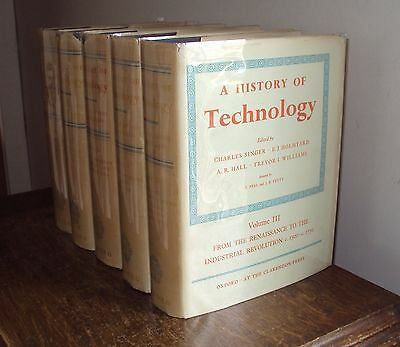 1956 - A HISTORY OF TECHNOLOGY by CHARLES  SINGER - 5 vols - HB DJ - illustrated