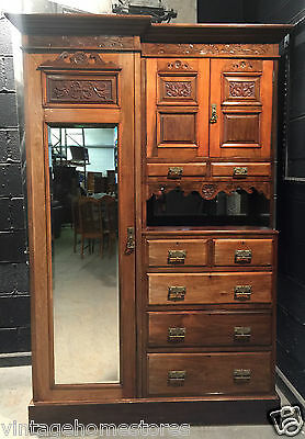 Can Deliver Edwardian Mahogany Compactum Armoire Wardrobe Robe Dresser Antique