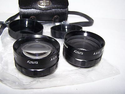 Vintage KOWA Camera Lens Set AUX TELEPHOTO & AUX WIDE ANGLE !!