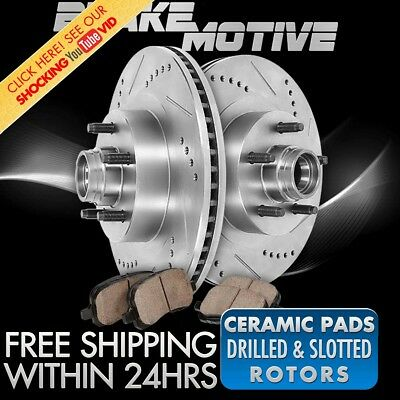 Front 331 mm Brake Disc Rotors and Ceramic Pads Kit FORD F250 F350 SUPER DUTY