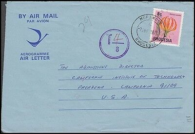Rhodesia 1978 Air Letter To Us To Pay Tax Mark