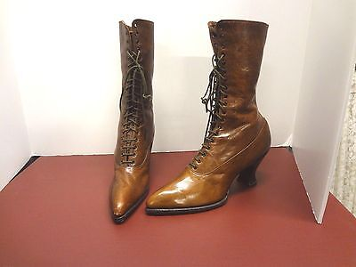 Vintage antique Victorian Edwardian Lady Westover brown leather  boot shoes SM