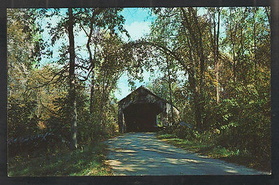Shaded Tree Lined Country Road Leading to Old Covered Bridge Brandon Vermont