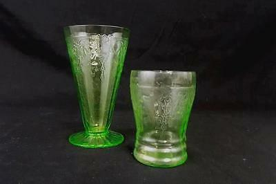 Lot of 2 Green Depression Glass Sundae Cup and Juice Glass Matching Pattern