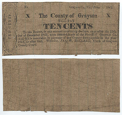 The County Of Grayson Will Pay 10c To Bearer, Grayson, Virginia