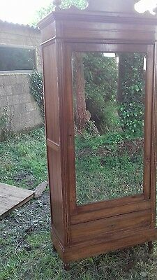 FRENCH ANTIQUE CARVED MIRROR DOOR ARMOIRE LINEN PRESS /cupboard