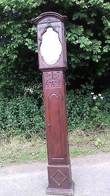 Ancient 18Thc French Hand Carved Solid Oak Longcase Clock Casing From Normandy
