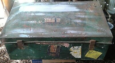 Antique 1930S Large Metal Trunk Well Travelled Bespoke Coffee Table Storage