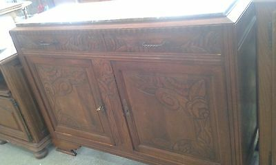 Antique French Carved Detail Marble Top Sideboard