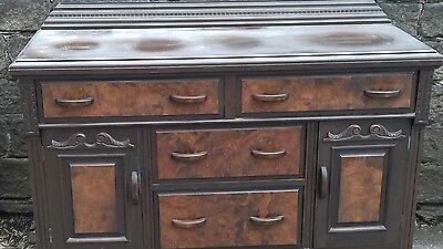 Antique Late 19Th Solid Wood Victorian Sideboard From Holmfirth Yorkshire