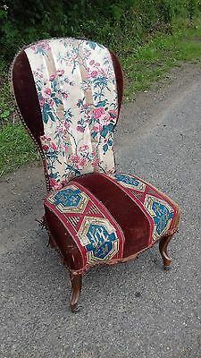 Antique French 19Thc Chair ,horse Hair/sprung ,solid  Needs Recovering/project