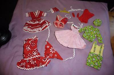 Vintage Skipper Outfits & Red Barbie Doll Bathing Suit W/ Shoes & Sunglasses