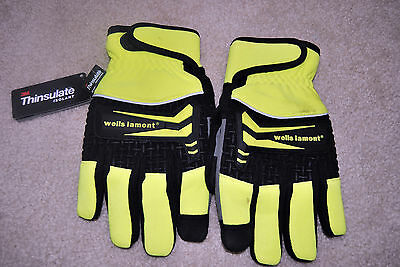 NWT Wells Lamont 3M Thinsulate gloves Large yellow and black has (flaws)