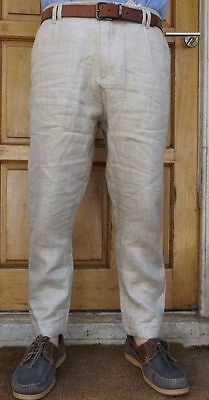 "Men`s New Zara Linen Cropped Summer Trousers 38"" Waist Casual Authentic Pants"