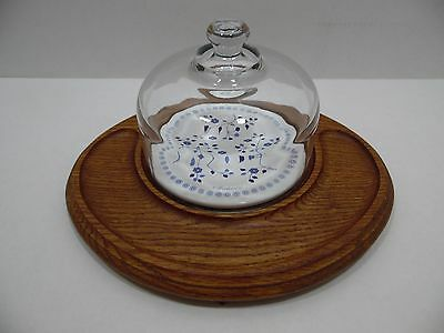 Goodwood Cheese Cracker Server Tray Glass Dome with Ceramic Tile Oval Platter