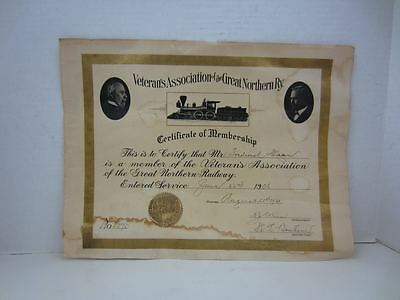 1906 VETRAN'S ASSOCIATION of The GREAT NORTHERN RY. Certificate of Membership