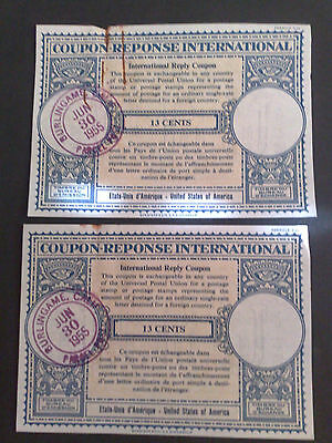 Postage - Initernational Reply Coupons - x 2 - 1955 for 13c
