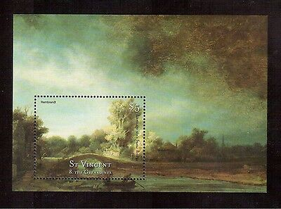 St.vincent & The Grenadines 2001 #2871 S/s Mint Nh Painting Of Rembrandt !!