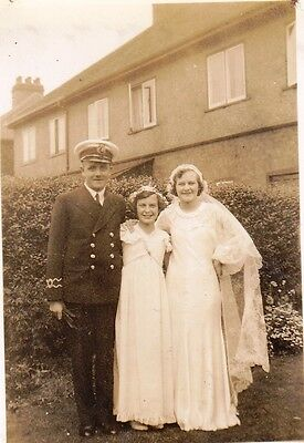 Vintage Photo Man Military Uniform Girl Bridesmaid Lady Wedding Dress 1930's
