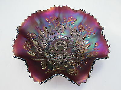 Lovely Antique Northwood Purple Good Luck Carnival Glass Bowl