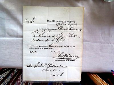 1834 New Brunswick State Bank Letter About Daniel Brown $150 Non Payment