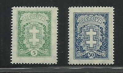 Lithuania Double-barred Cross 1927-29 5c MNH, Scott 216-217, Mi 270 Y, 292