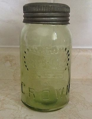 Excellent deeper green quart Crown fruit jar