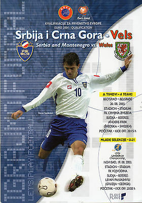 2003 Euro 2004 Qualifier Serbia and Montenegro v Wales Football Programme