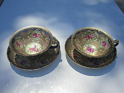 2 Old Heavy Gold With Pink & Red Roses Over Blue & White Nippon Cups & Saucers