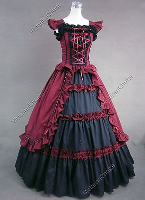 Dark Victorian Gothic Vintage Party Gown Dress Steampunk Punk Outfit V 085 M